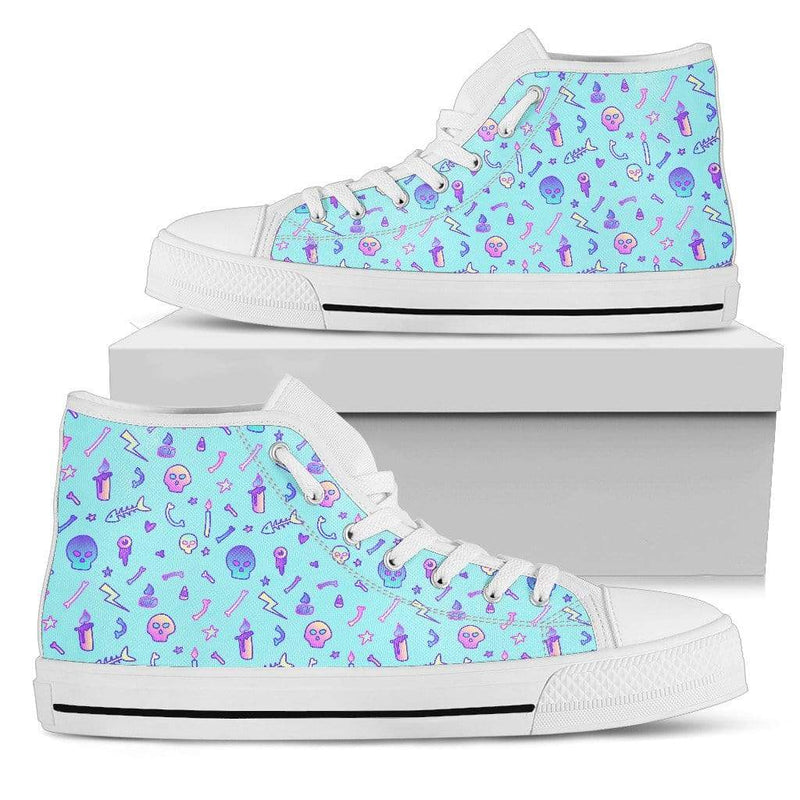 So Kawaii Shop Womens High Top - White - Skulls & Fishbones Blue / US5.5 (EU36) The Kawaii Goth Skulls & Fishbones Sneaker PP.14297818