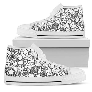 So Kawaii Shop Womens High Top - White - The Black & White Goth Bunny Light High Sneaker / US5.5 (EU36) The Black & White Goth Bunny Dark High Sneaker PP.14194941