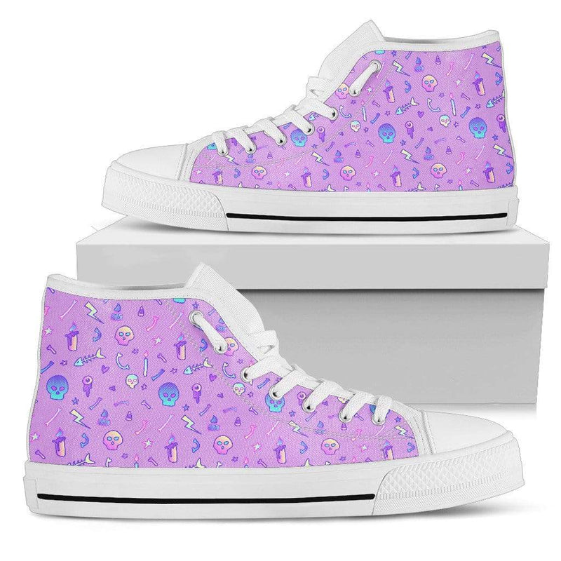 So Kawaii Shop Womens High Top - White - Violet / US5.5 (EU36) The Kawaii Goth Skulls & Fishbones Sneaker PP.14297847