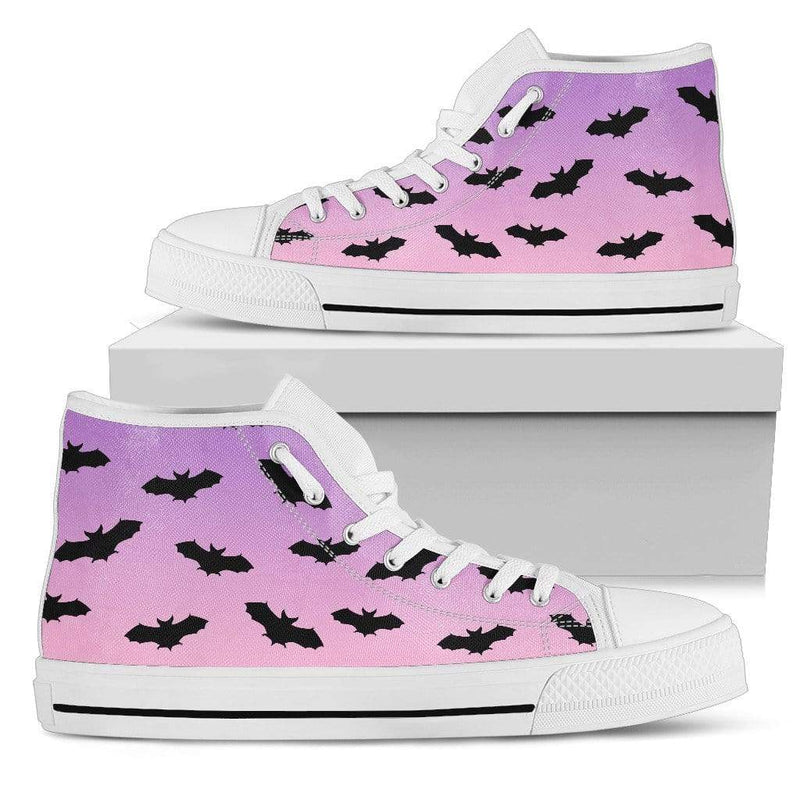 So Kawaii Shop Womens High Top - White - White High Top / US5.5 (EU36) The Kawaii Pastel Goth Black Bats High Top Sneaker PP.14391628