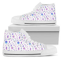 So Kawaii Shop Womens High Top - White - White / US5.5 (EU36) The Kawaii Goth Skulls & Fishbones Sneaker PP.14297857
