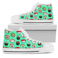 So Kawaii Shop Womens High Top - White - White / US5.5 (EU36) The Kawaii Sushi Print in Mint High Top Sneaker PP.14524834