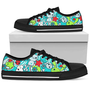 So Kawaii Shop Womens Low Top - Black - Black / US5.5 (EU36) The Kawaii Goth Bunny Electric Bright Low-Top Sneaker PP.14838111
