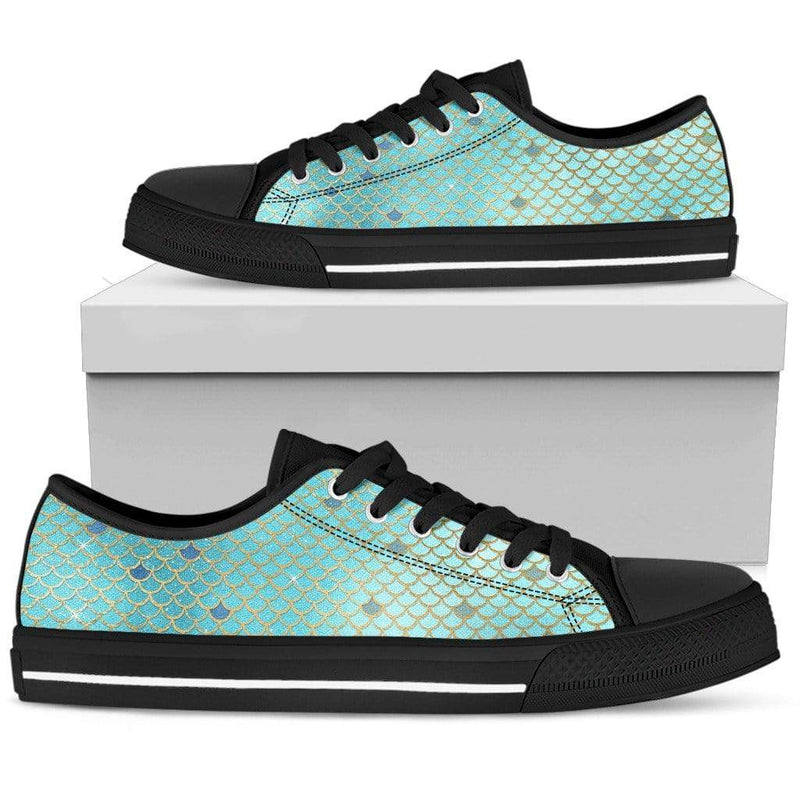So Kawaii Shop Womens Low Top - Black - blue silver mermaid black / US5.5 (EU36) The Kawaii Mermaid Scales Low Top in Blue & Silver PP.15071103