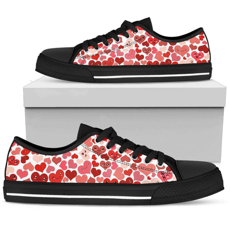 So Kawaii Shop Womens Low Top - Black - Kawaii Happy Hearts Low Dark / US5.5 (EU36) Kawaii Happy Hearts Low Sneaker PP.12309350