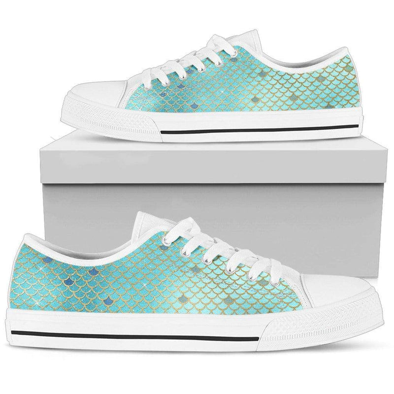 So Kawaii Shop Womens Low Top - White - blue silver mermaid white / US5.5 (EU36) The Kawaii Mermaid Scales Low Top in Blue & Silver PP.15071094