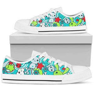 So Kawaii Shop Womens Low Top - White - White / US5.5 (EU36) The Kawaii Goth Bunny Electric Bright Low-Top Sneaker PP.14838102
