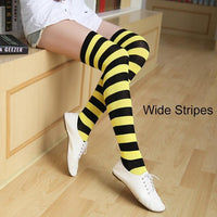 So Kawaii Shop yellow/black Kawaii Candy Color Striped Thigh High Stockings 17635598-a1