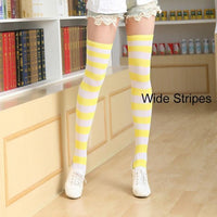 So Kawaii Shop yellow/white Kawaii Candy Color Striped Thigh High Stockings 17635598-a6