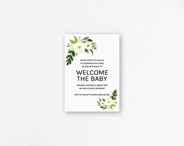 Neutral Baby Shower Invitation - Neutral Flower Design