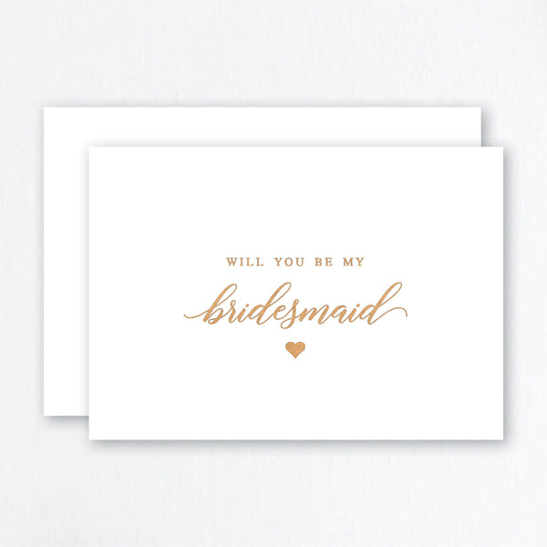 Will You Be My Bridesmaid Rose Gold Foil Greeting Card