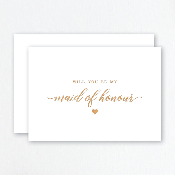 Will You Be My Maid of Honour Rose Gold Foil Greeting Card