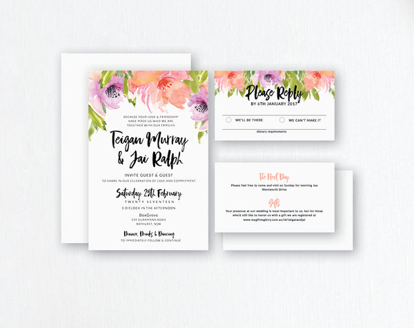 Spring Watercolour Flowers - Wedding Invitations