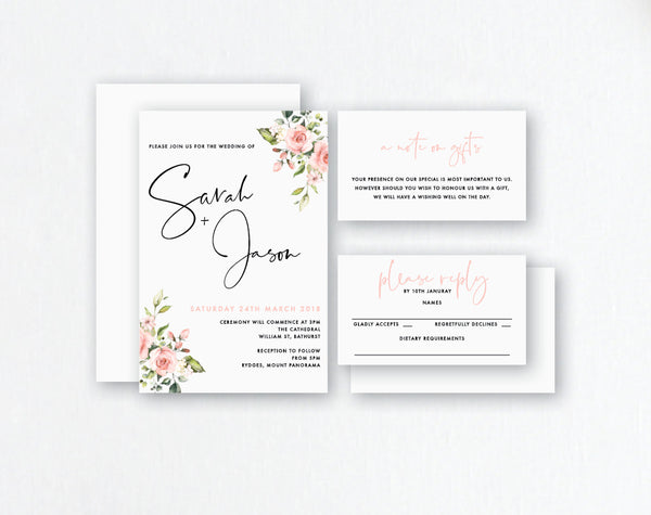 Blush Watercolour Flowers - Wedding Invitations