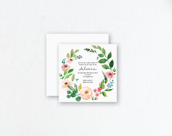 pastel flowers and foliage watercolour invitation
