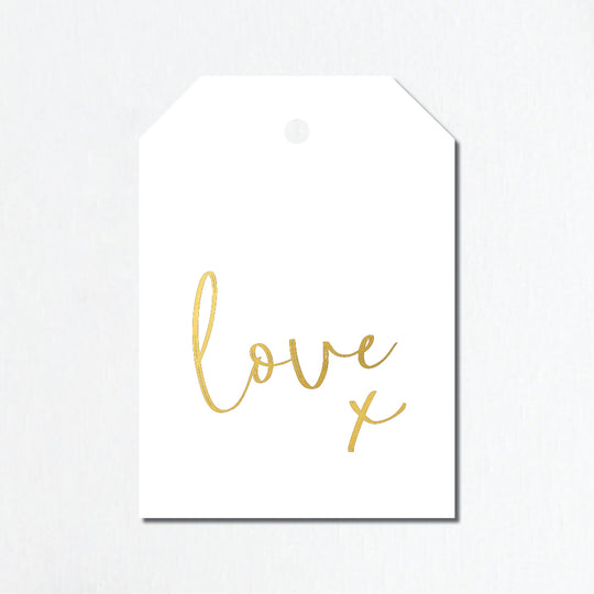 'Love X' Gold Foil Gift Tags