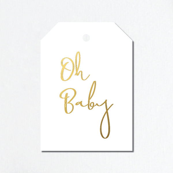 'Oh Baby' Gold Foil Gift Tags