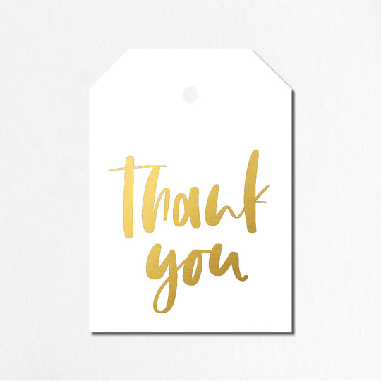 'Thank You' Gold Foil Gift Tags - Brush Script