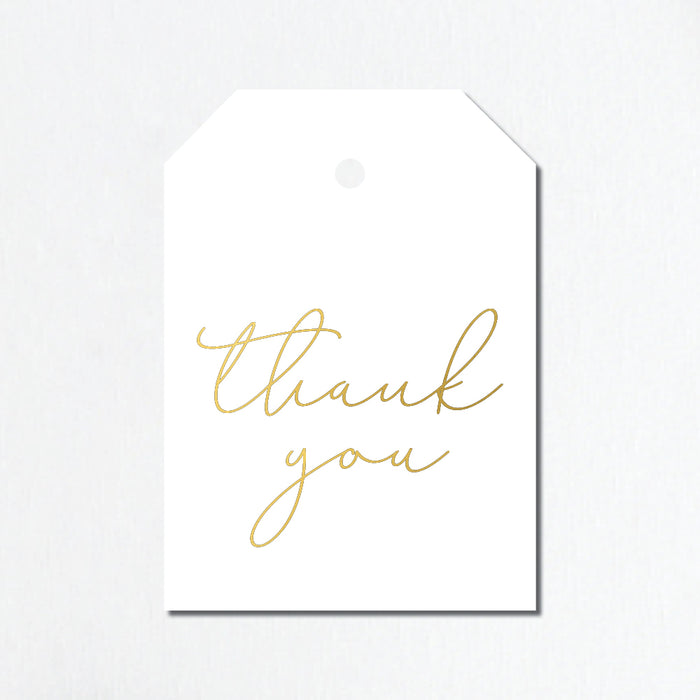 'Thank You' Gold Foil Gift Tags - Cursive Lettering