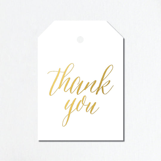 'Thank You' Gold Foil Gift Tags - Script Lettering