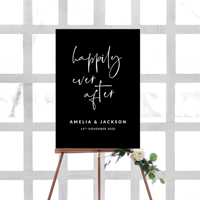 Happily Ever After Wedding Welcome Sign - Foam Mounted