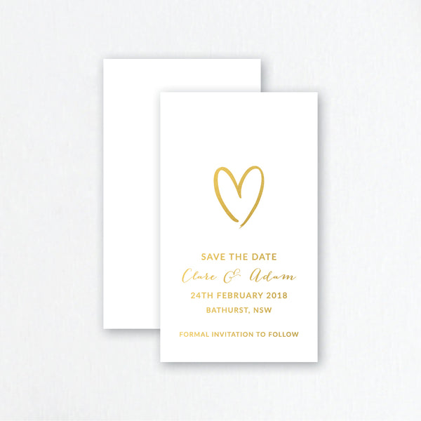 foiled save the date invite with heart