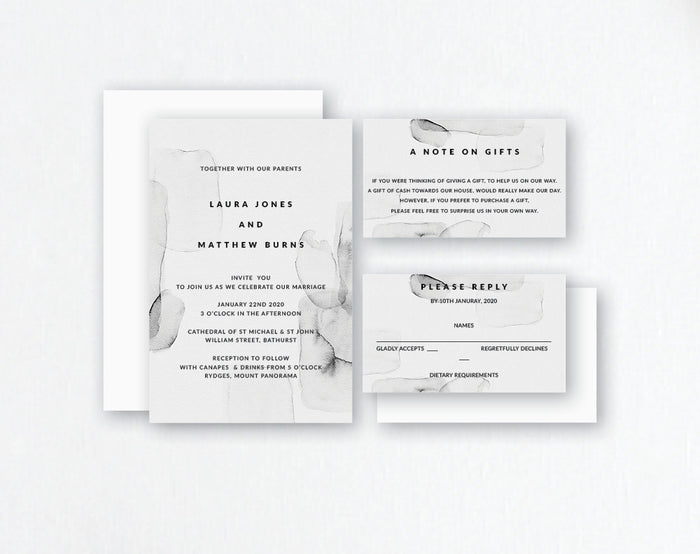 Grey Ink Monochrome Watercolour Wedding Invitations