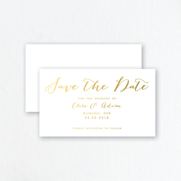Gold Foil Save the Date Invitations - Modern Script Wedding Stationery