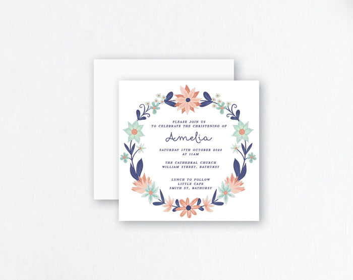 Navy & Floral Invitation - Navy Wreath Design