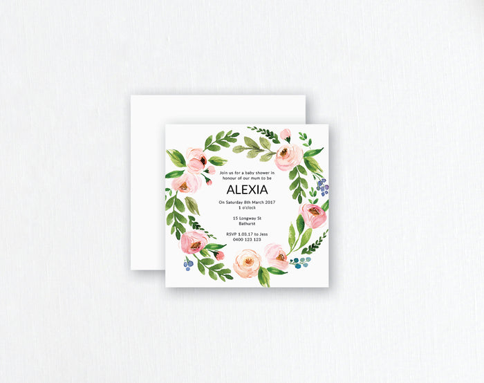 soft pink flowers with foliage wreath watercolour invitation