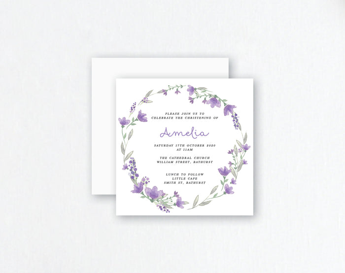 lilac flower wreath christening invite
