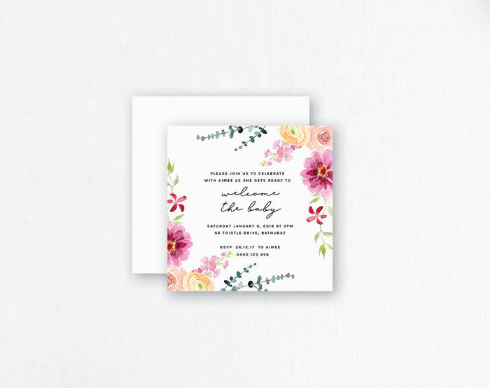 Pink Floral Baby Shower Invitation - Pink Flowers Design