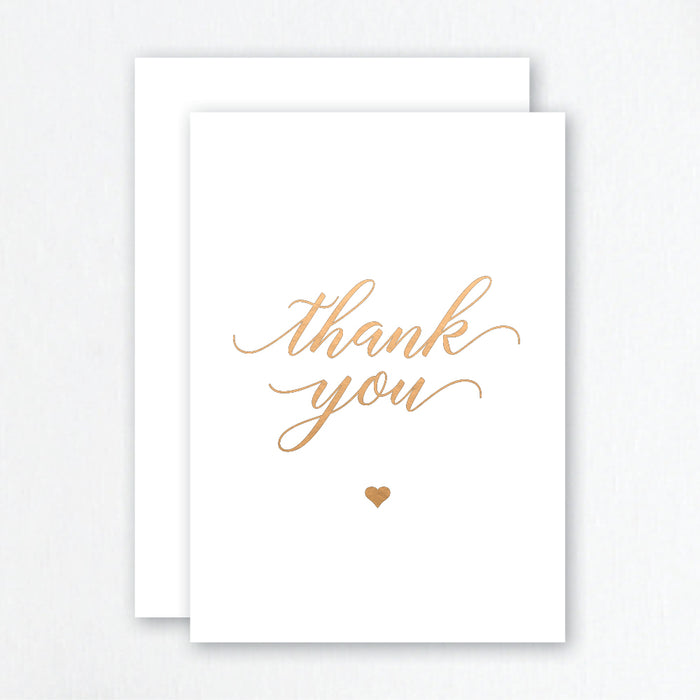 Thank You Cards Rose Gold Foil - Script Heart