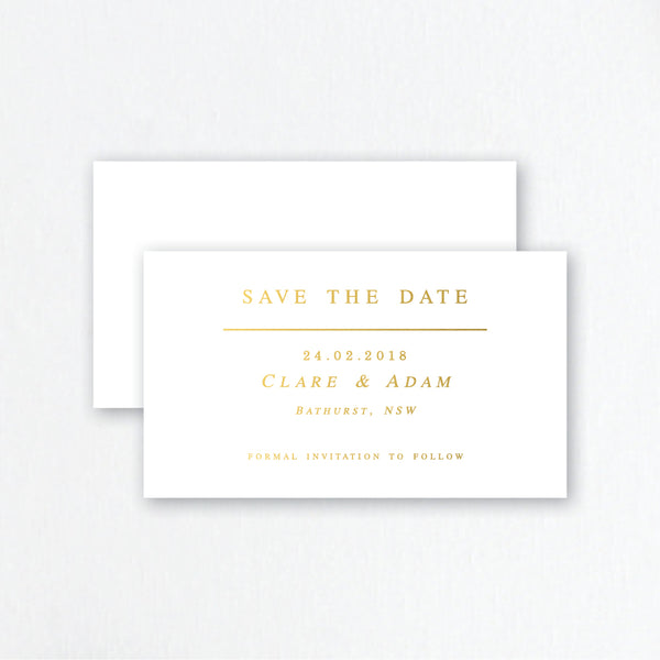 Gold Foil Save the Date Invitations - Simple Wedding Stationery