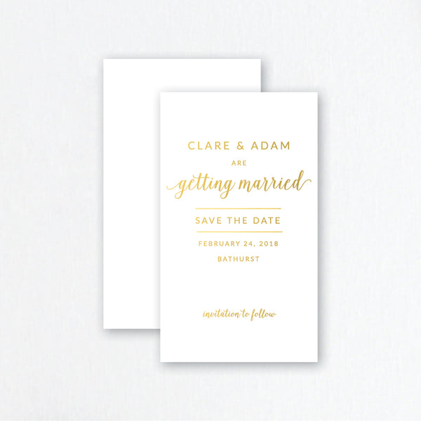 Gold Foil Save the Date Invitations - Modern Style Wedding Stationery