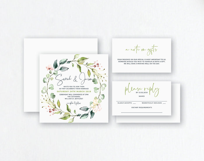 Blush & Foliage Watercolour Flowers & Wreath - Wedding Invitations