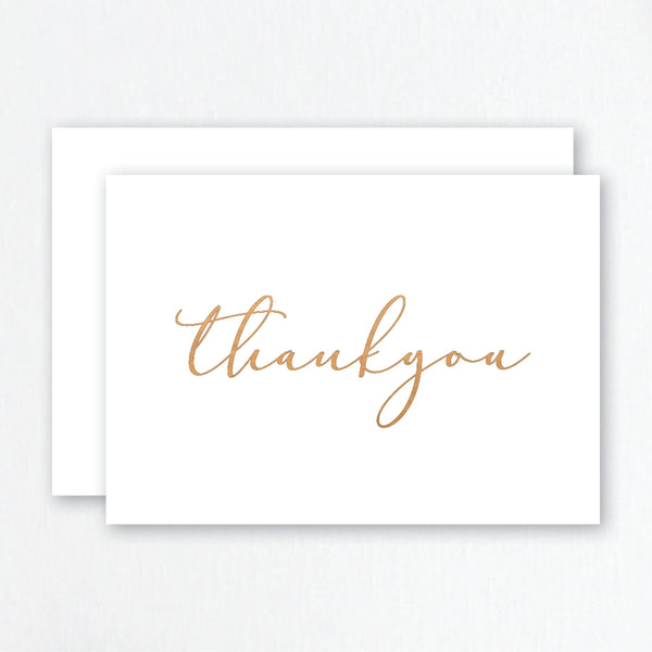 Thank You Cards Rose Gold Foil - Cursive