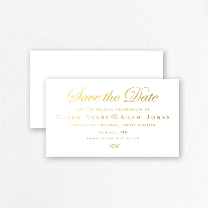 gold, silver or rose gold foil traditional style save the dates