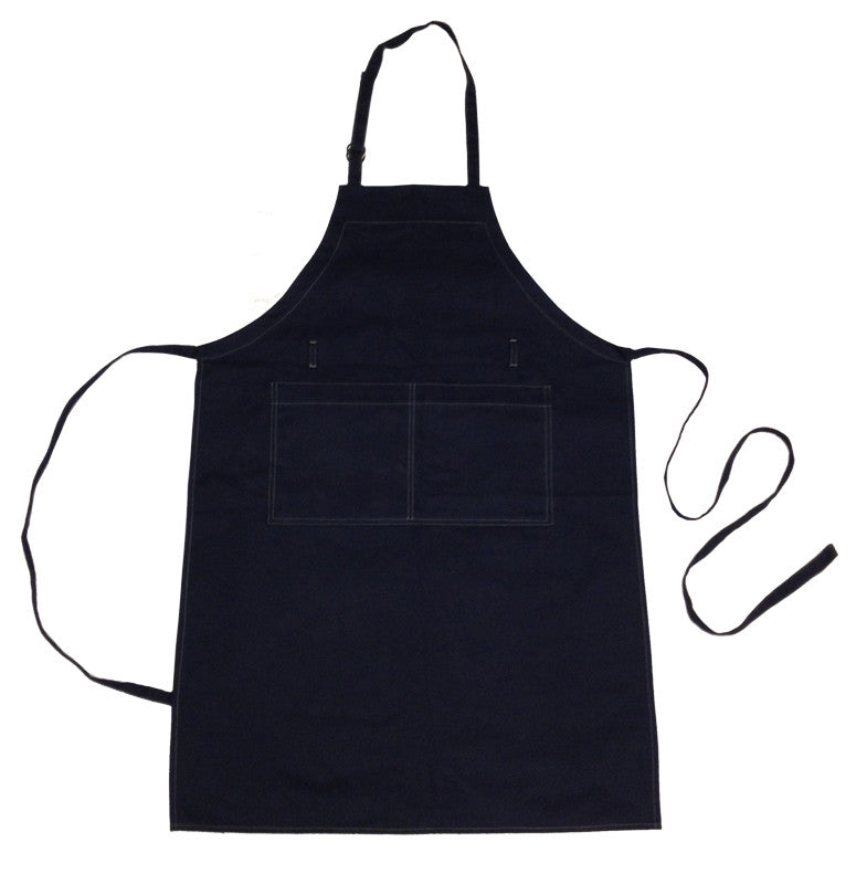 Chef's Cotton Canvas Apron - The 2-Pocket Bib - NAVY