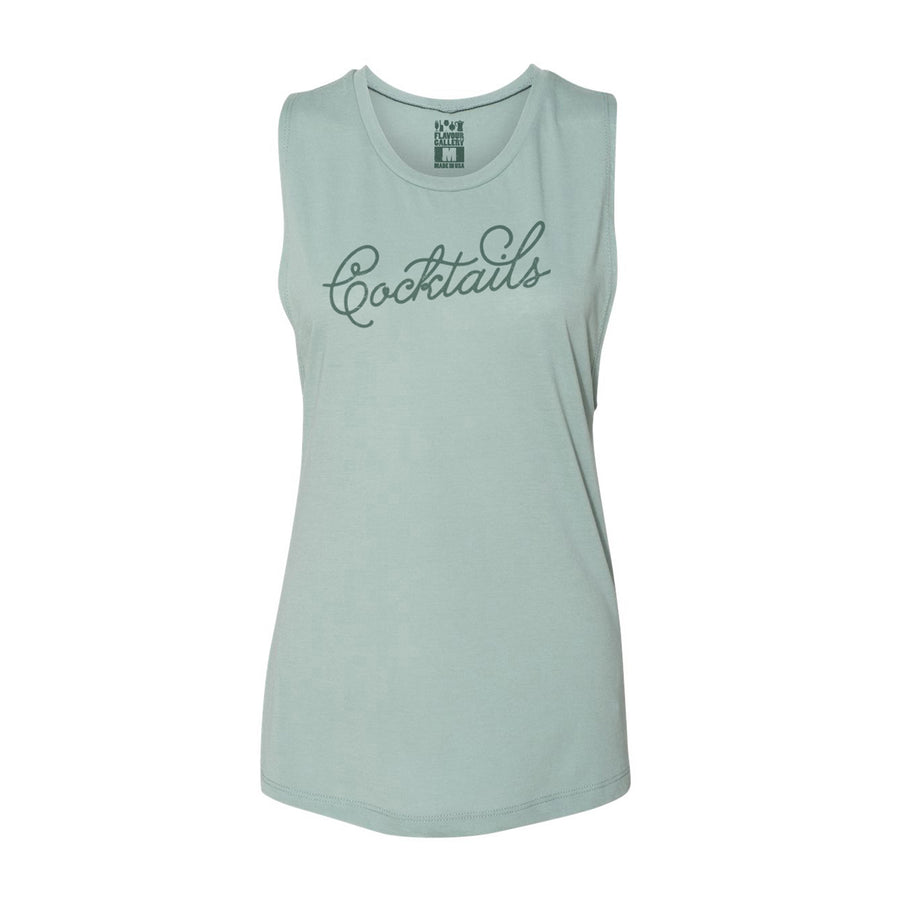 Cocktails - Womens Muscle Tank - Stonewash Green