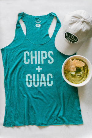 Chips + Guac - Women's Racer Tank - Teal