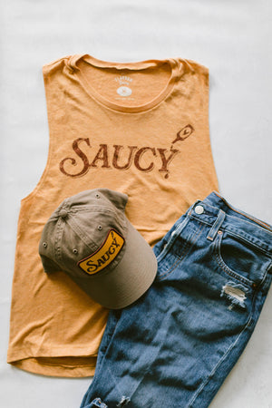 SAUCY - WOMEN'S MUSCLE TANK - ANTIQUE GOLD