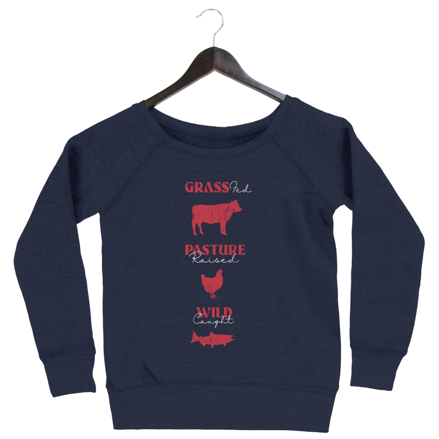 Grass Fed By Flavcity - Women's Slouchy Sweatshirt - Navy