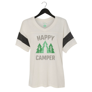 Happy Camper - Women's Jersey Powder Puff V-Neck Tee - Ivory/Black