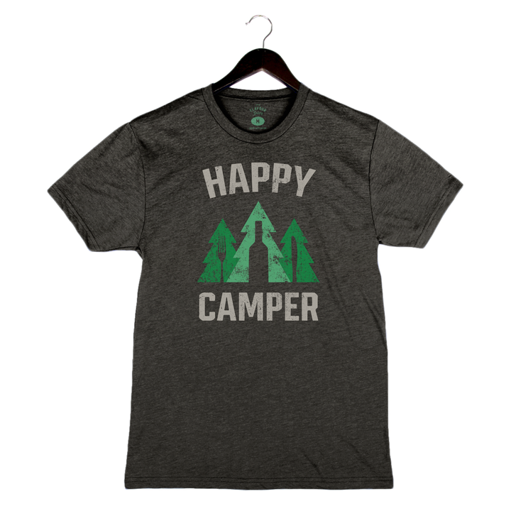 Happy Camper - Unisex/Men's Crew - Charcoal Black