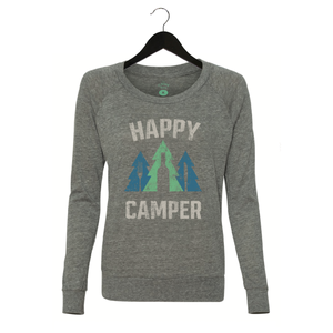 Happy Camper -Women's Jersey Slouchy Pullover - Grey