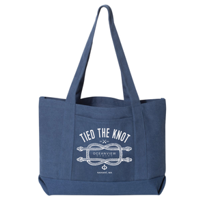 Oceanview Of Nahant - Tied The Knot - Canvas Beach Tote - Washed Navy