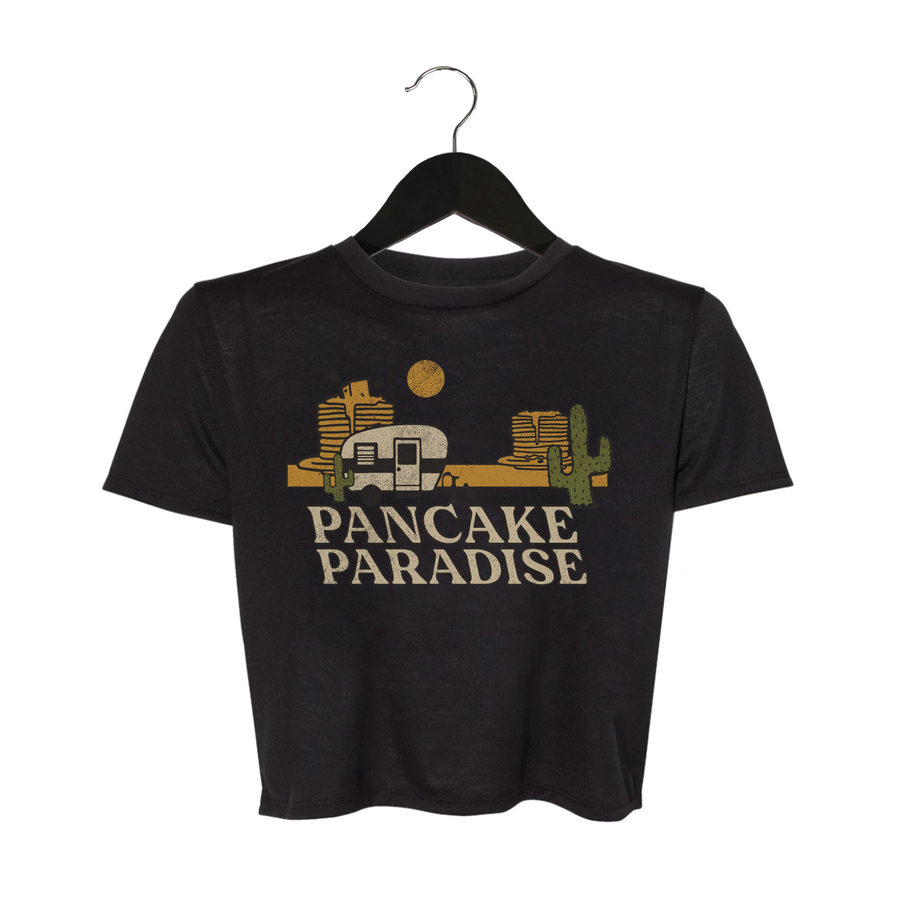 Pancake Paradise - Women's Flowy Cropped Top - Black