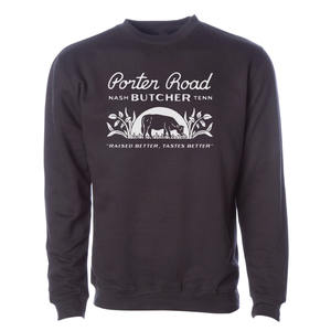 Porter Road - Unisex/Men's Crewneck Sweatshirt - Reactive Black