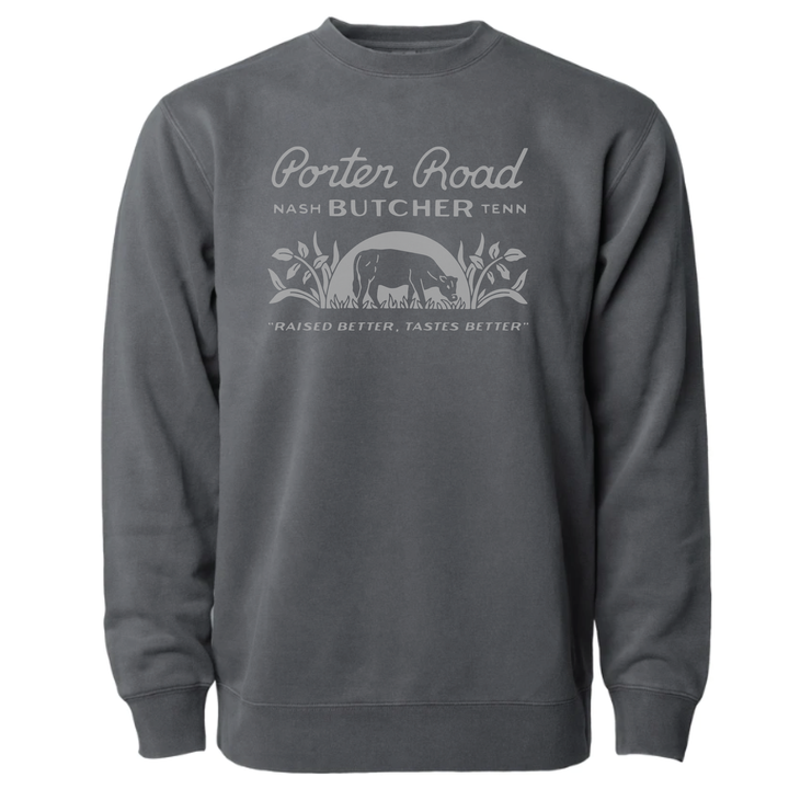 Porter Road - Unisex/Men's Crewneck Sweatshirt - Pigment Black